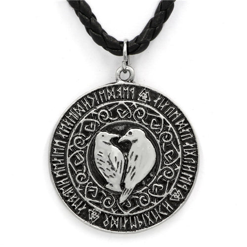 Metal Viking Dual Raven Nordic Knots Pendant Necklace - Heavy Metal Jewelry Clothing