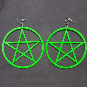Metal Large Pentagram Earrings Acrylic - Heavy Metal Jewelry Clothing