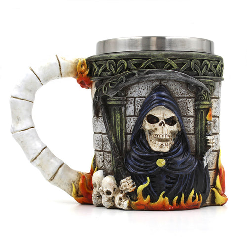 Metal Grim Reaper Skull Tankard Scythe and Flames Drinking Mug - Heavy Metal Jewelry Clothing