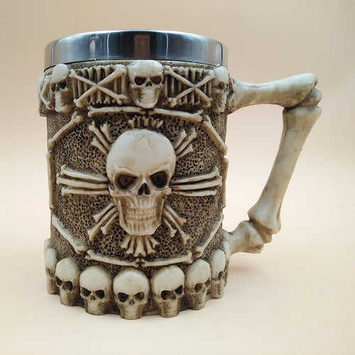 Metal Skull and Bones Tankard Drinking Mug with Skeleton Handle Stainless Steel - Heavy Metal Jewelry Clothing