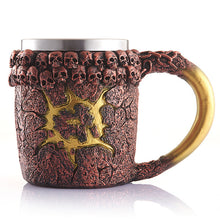 Metal Lava Monster Tankard with Skulls Drinking Mug Stainless Steel - Heavy Metal Jewelry Clothing