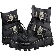 Metal Punk Gothic Leather Boots with Skulls Platform - Heavy Metal Jewelry Clothing
