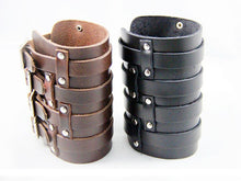 Pair of Massive Four Strap Leather Vambrace Gauntlet (2 Bracelets) - Heavy Metal Jewelry Clothing