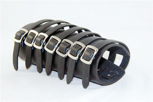 Gigantic Heavy Metal Leather Bracelet Seven Straps - Heavy Metal Jewelry Clothing