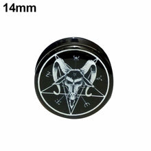 Metal Goat Skull Pentagram Earring Gauges Plugs Flesh Tunnels - Heavy Metal Jewelry Clothing