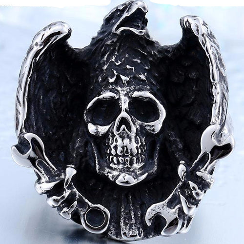 Metal Raven Skull Ring Stainless Steel - Heavy Metal Jewelry Clothing