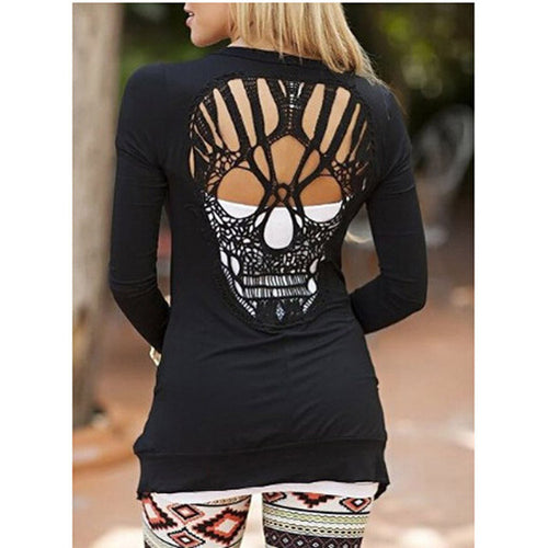 Metal Skull Back Cut Out Women's Coat Jacket - Heavy Metal Jewelry Clothing