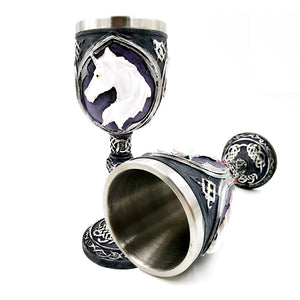 Fantasy Power Metal Unicorn Chalice Drinking Mug Stainless Steel - Heavy Metal Jewelry Clothing