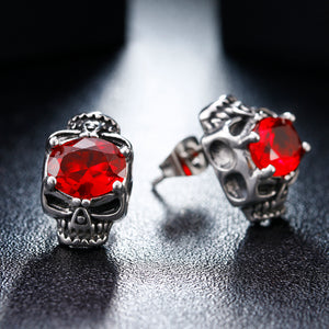 Metal Dual Skulls Red Cubic Zirconia Crystal Stud Earrings - Heavy Metal Jewelry Clothing