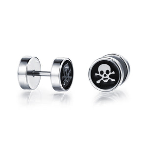 Metal Skull and Crossbones Dumbbell Earrings Studs Stainless Steel - Heavy Metal Jewelry Clothing