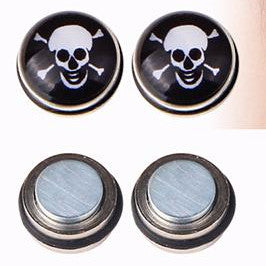 Metal Skull and Crossbones Magnetic Earrings Studs - Heavy Metal Jewelry Clothing