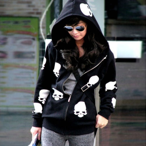 Metal Skull Zipper Hoodie Women's Coat - Heavy Metal Jewelry Clothing