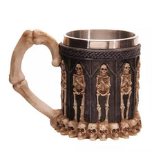 Metal Skeletons and Skulls Tankard with Bone Handle Drinking Mug Stainless Steel - Heavy Metal Jewelry Clothing
