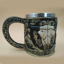 Metal Bull Horns Ivory Skull Tankard Drinking Mug Stainless Steel - Heavy Metal Jewelry Clothing