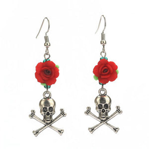 Metal Skull and Crossbones Rose Flower Earrings - Heavy Metal Jewelry Clothing