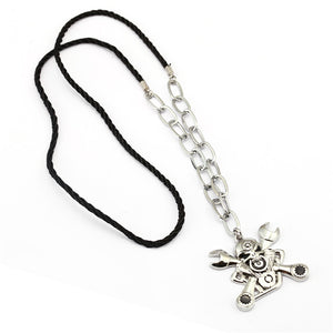 Metal Mechanic Skull and Spanners Pendant Necklace Zinc Alloy - Heavy Metal Jewelry Clothing
