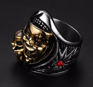 Silver and Gold Double Metal Ghost Skull Ring Stainless Steel - Heavy Metal Jewelry Clothing