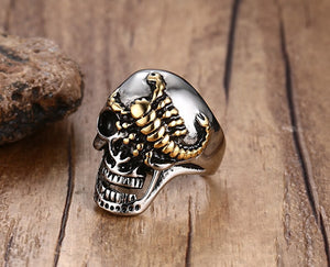 Silver Metal Skull with Scorpion on Face Ring Stainless Steel - Heavy Metal Jewelry Clothing