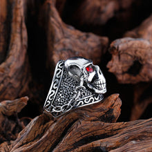Huge Silver Metal Skull Ring with Red Eyes and Chains Stainless Steel - Heavy Metal Jewelry Clothing