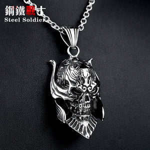 Metal Horned Skull Monster Pendant Stainless Steel - Heavy Metal Jewelry Clothing