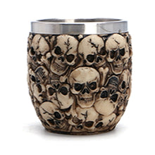 Mini Metal Punk Gothic Skull Snap Glass Mug Stainless Steel - Heavy Metal Jewelry Clothing