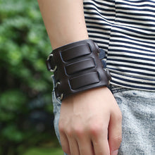 Heavy Metal Leather Bracelet Three Row with Metal O Rings - Heavy Metal Jewelry Clothing