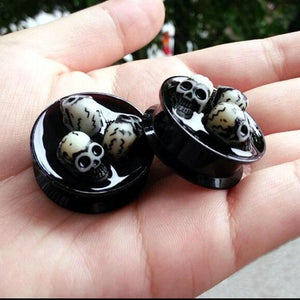 Metal Skull Nest Earrings Tunnels Plugs Gauges - Heavy Metal Jewelry Clothing