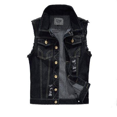Metal Sleeveless Cut Off Denim Battle Jacket  - Kutte Ready for Patches! - Heavy Metal Jewelry Clothing