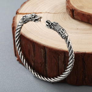 Jörmungandr Viking Sacred Arm Ring Metal Bracelet - Heavy Metal Jewelry Clothing