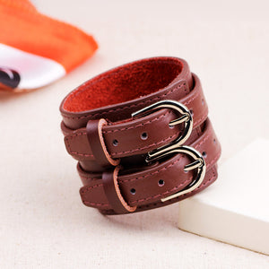 Two Strap Heavy Metal Leather Bracelet - Heavy Metal Jewelry Clothing