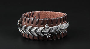 Epic Dragon Heavy Metal Leather Bracelet - Heavy Metal Jewelry Clothing