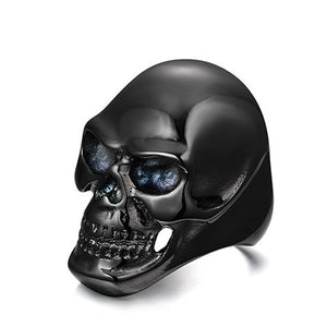 Black Metal Skull Ring Crystal Eyes Stainless Steel - Heavy Metal Jewelry Clothing
