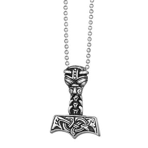 Metal Thor's Hammer Mjolnir Goat Viking Amulet Pendant Necklace Stainless Steel - Heavy Metal Jewelry Clothing