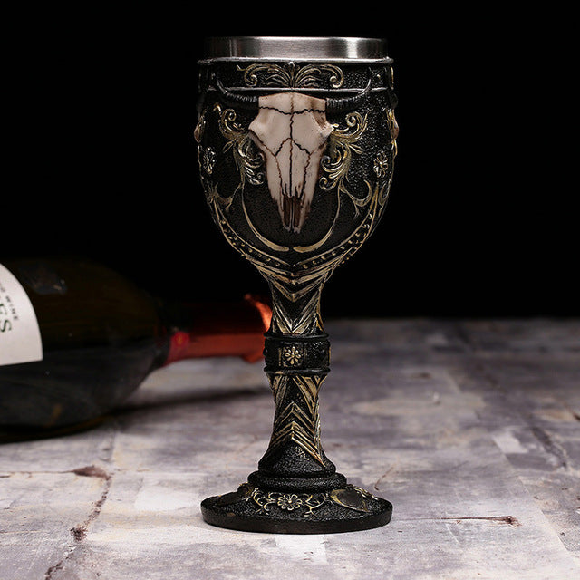 Metal Bovine skull and Horns Ivory Chalice Mug Stainless Steel - Heavy Metal Jewelry Clothing
