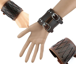Cross Braided Double Strap Leather Bracelet - Heavy Metal Jewelry Clothing