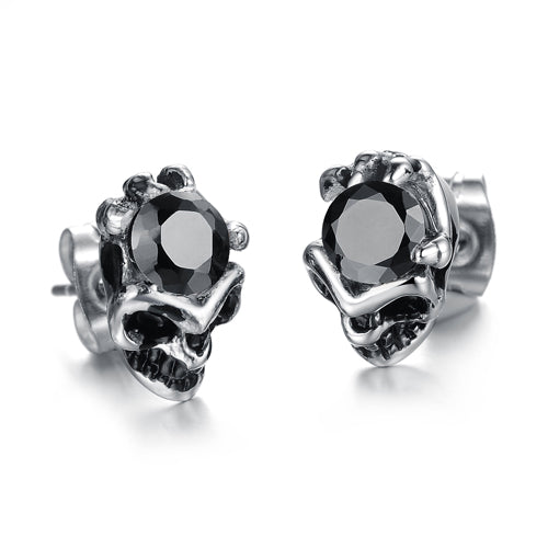 Metal Skull Fist Cubic Zirconia Crystal Earrings - Heavy Metal Jewelry Clothing