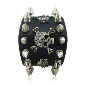 Metal Punk Skull Spike Bracelet Stainless Steel - Heavy Metal Jewelry Clothing