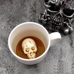 Metal Punk Gothic Skull at the Bottom of my Coffee Mug Prank Tankard! - Heavy Metal Jewelry Clothing