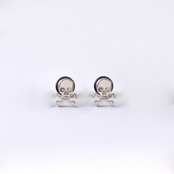 Metal Skull Face Earrings Dumbbell Titanium - Heavy Metal Jewelry Clothing