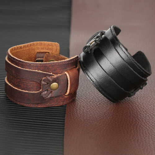 Brushed Patina Leather Bracelet Split Strap - Heavy Metal Jewelry Clothing
