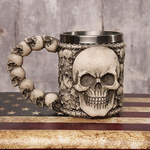 Big Face Skull Mug with Conjoined Skulls Handle - Heavy Metal Jewelry Clothing