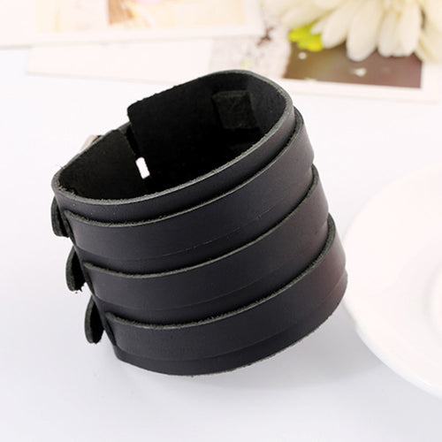 Tri Band Heavy Metal Leather Bracelet - Heavy Metal Jewelry Clothing