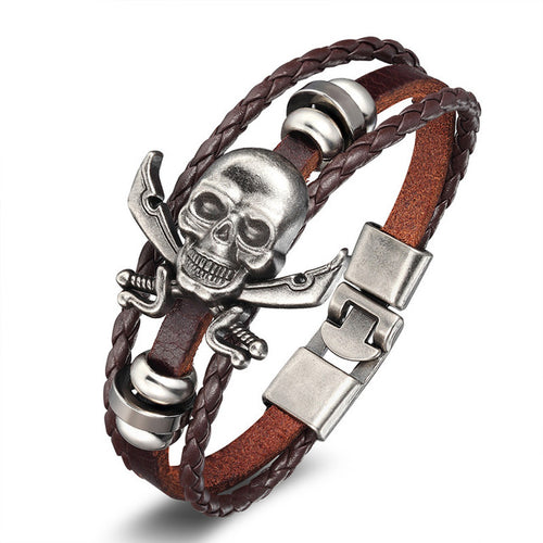 Metal Skull and Cross Swords Pirate Bracelet - Heavy Metal Jewelry Clothing