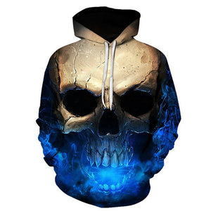 Metal Massive Vampire Skull Print Back and Front Hoodie - Heavy Metal Jewelry Clothing