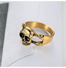 Metal Punk Gothic Gold Skull and Bones Ring Stainless Steel - Heavy Metal Jewelry Clothing