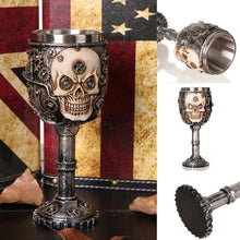 Metal Steampunk Skull Stemmed Chalice Mug with Cogs - Heavy Metal Jewelry Clothing