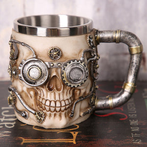 Metal Steampunk Skull Tankard Drinking Mug with Cogs Stainless Steel - Heavy Metal Jewelry Clothing