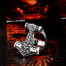 Metal Epic Thor's Hammer Mjolnir Ring Stainless Steel - Heavy Metal Jewelry Clothing
