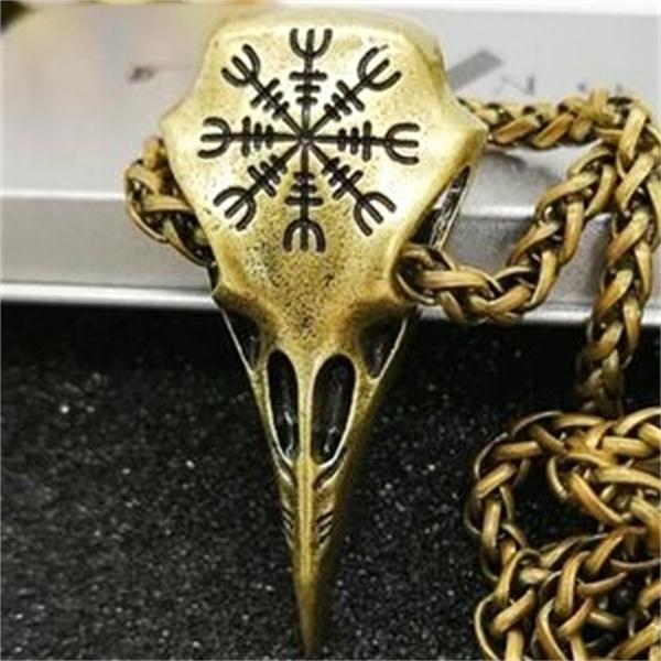 Metal Viking Helm of Awe Raven skull Pendant Necklace - Heavy Metal Jewelry Clothing