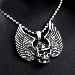 Metal Winged Skull Pendant Necklace Stainless Steel - Heavy Metal Jewelry Clothing